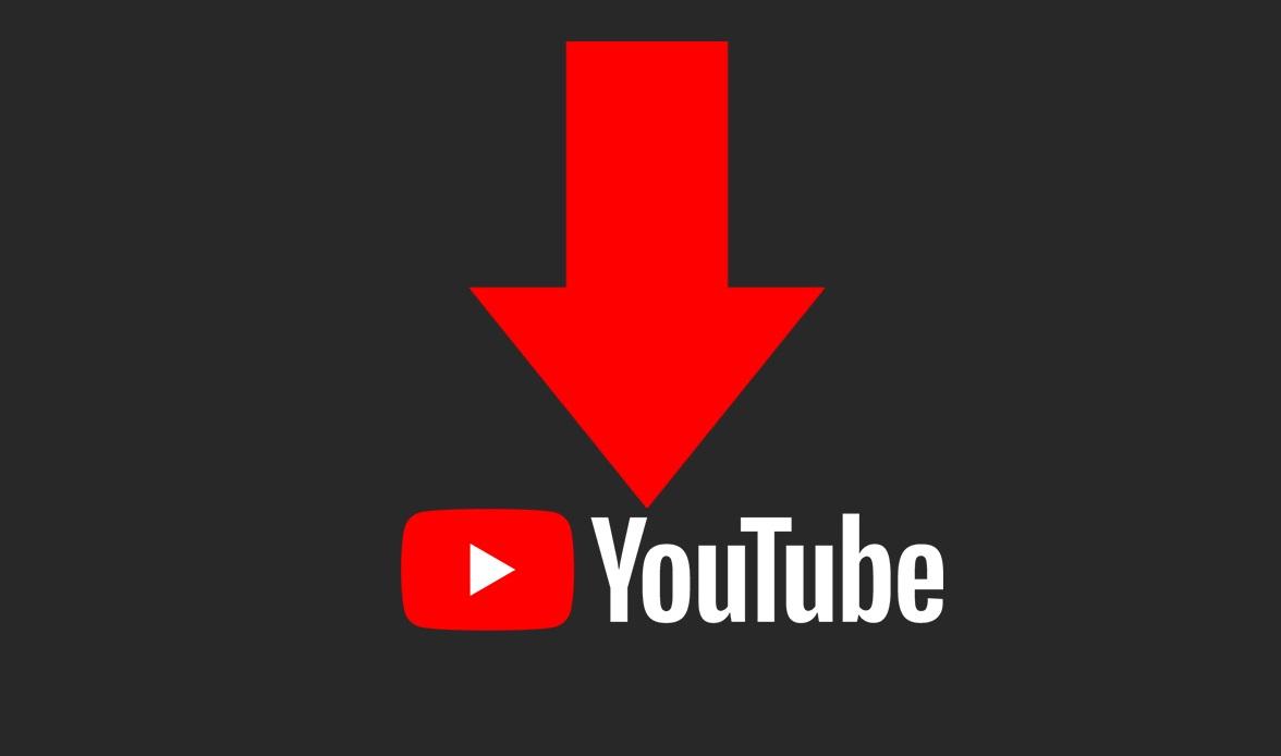 Une flèche au dessus du logo yt